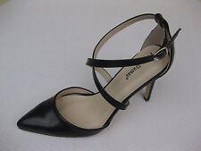 Pierre Dumas Womens Shoes NEW $52 Cherry-3 Black Ankle Strap Pump 8 M