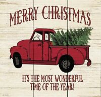 Merry Christmas Vintage Truck Whitewash 10.5 x 10 Wood Pallet Wall Plaque Sign