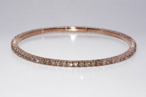 $7,000 3.15CT NATURAL ROUND CUT DIAMOND TENNIS BANGLE BRACELET 14K ROSE GOLD