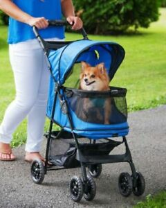 Pet Gear Happy Trails No-Zip Stroller, Sapphire Blue -  for dogs upto 35 Ibs