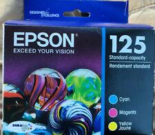 2022 Epson 125 Printer Ink 3 Color Cartridges Pack Cyan Magenta Yellow T125520