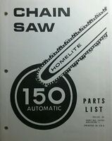 Homelite 150 Automatic Chain Saw Parts Manual 6pg Chainsaw