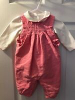 Girls JANIE AND JACK Layette 2 Piece Outfit Pink White Cat Romper Sz 3-6 Month