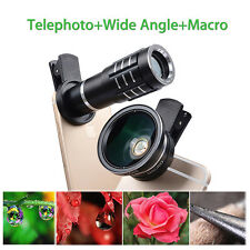 3 In 1 Telephoto+Wide Angle+Macro Camera Lens Kit For iPhone 7 6S Samsung Phone