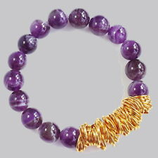 10mm Natural Magical Purple Amethyst Round Beads Bracelet CHM2