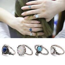 4pcs/set Vintage Silver Punk Ring Unique Rhinestone Opal Turquoise Boho Jewelry
