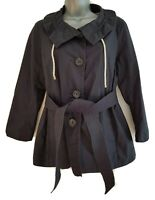 J CREW Women's Black Lightweight Cotton Button-Down Belted Jacket. Size UK 10.