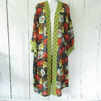 New Bluheaven By Umgee Kimono S Small Navy Blue Floral Duster Mixed Print