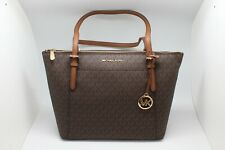 Michael Kors Women's Ciara Large Top Zip PVC Leather Tote Shoulder Bag Brown