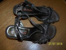 GABRIELLA ROCHA BRAND BROWN FABRIC BEADED STRAPPY HEELS SIZE 6.5M BRAZILIAN MADE
