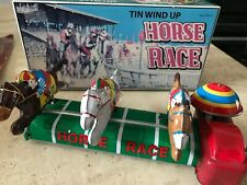 Boxed Schylling Tin Wind up Horse Race Toy Collectors Edition Vintage Tinplate