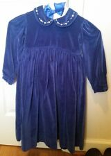 STRASBURG Blue Velvet Dress & Bow Girls 4 Y Holiday Christmas Dress NWOT