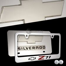 2PC Chevrolet CAMARO Z71 Stainless Steel License Plate Frame w/ Cap-Front & Back