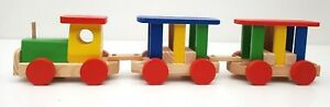 Wooden Toy Train Set , Kids natural toy , treated with water based paint