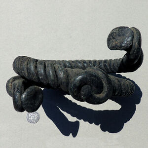 an old twisted bronze african bracelet from nigeria #210