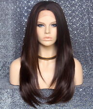 Long Silky Straight Full Lace Front Wig Brown mix Hair Piece 4-27 NWT WBDL