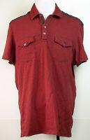 INC International Concepts Red Gray Space Dye Stripe S/S Polo Shirt XXL
