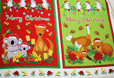 Fabric Panel Australian Christmas Koala Kangaroo Quilting Cotton Material July