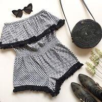 Seed Heritage Black White Jumpsuit S Playsuit Romper Tassels Scarf