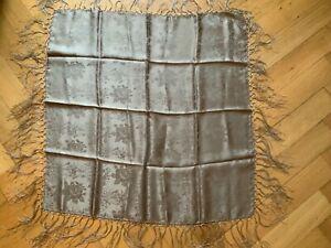 Dirndl - Trachtentuch reine Seide beige ca. 72 cm x 74 cm mit Fransen