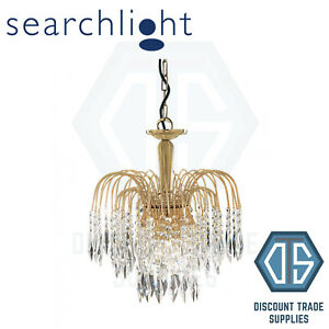 5173-3 SEARCHLIGHT WATERFALL GOLD 3 LIGHT FITTING WITH CRYSTAL BUTTONS & DROPS