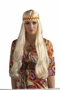 Hippie Chick 60s 60's Wig with Headband Adult Costume Accessory - Blonde