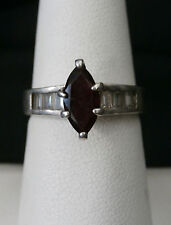 Unique Vintage Garnet and CZ Sterling Silver Cocktail Ring  Make Offer! #548