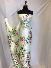 New Beautiful High Class Designer Silky Satin Rose Floral Print Fabric 58''150cm
