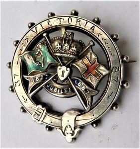 NO RESERVE c1887 Silver Victoria Jubilee Brooch Vintage Antique Sweetheart
