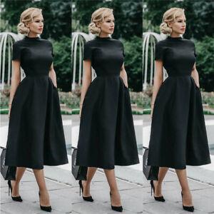 Women Short Sleeve Swing Midi Dress Ladies Elegant Evening Party Prom Gown Dress