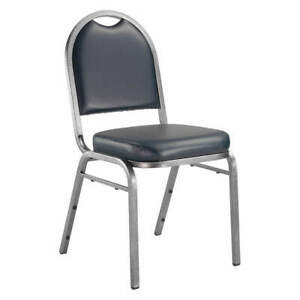 NATIONAL PUBLIC SEATING 9204-SV Stacking Chair,Steel,Blue/Silvervein