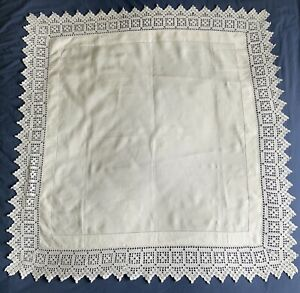 VINTAGE WHITE LINEN TABLECLOTH WITH HAND CROCHET LACE EDGE approx 39 x 39 inch