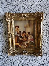 Kpm Germany Antique Porcelain Plaque Murillo Bartolome Dice Players Framed