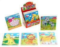 Children's Kids 9 Piece Wooden Tray Puzzle Jigsaw Toy Turtle Giraffe Zebra