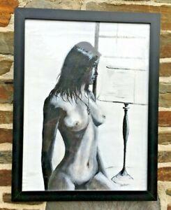 NUDE OIL PAINTING BEAUTIFUL LADY BEDROOM SCENE SIGNED IRISH ARTIST 44 CM