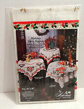 """Amrose CHRISTMAS WREATH Holiday Table Topper 36"""" x 36"""" Square Made in Poland NIP"""