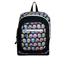 Hibou sac femmes sac d'école sac à dos large pour femme style rétro noir