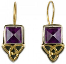 Celtic Style Aria Square Amethyst Earrings Sterling Silver & 14K Yellow Gold