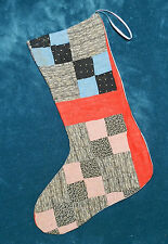 PRIMITIVE ANTIQUE VINTAGE CUTTER QUILT CHRISTMAS STOCKINGS! BLUE RED 16-75