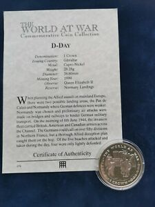 1 Crown Cupro-Nickel Coin 1999 D-Day Normandy Landings Gibraltar with COA
