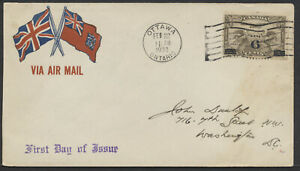 1932 #C3 6c on 5c Overprint Airmail FDC, Patriotic Air Mail Cover, Ottawa