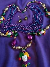 MARDI GRAS NECKLACES.ONE WITH JESTER & ONE COLORED BEADS + EARRINGS