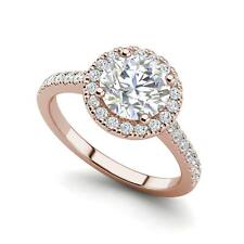 Pave Halo 1.45 Carat SI1/F Round Cut Diamond Engagement Ring Rose Gold