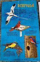 Vintage Irish Linen Bermuda Birds Tea Towel Ulster Weavers