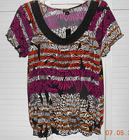 East 5th Black Multi Color Blouse Size Large NWT