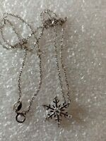 Sterling Silver Diamonique SNOWFLAKE Pendant & 925 Silver  Chain Necklace