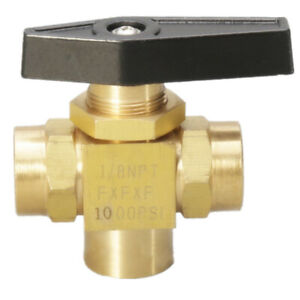 """1/8"""" 3 way brass ball valve 1000psi Instrument Panel Mount guage Gas Oil Water"""