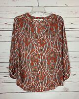 Fun 2 Fun Stitch Fix Women's M Medium Orange Floral Spring Summer Top Blouse