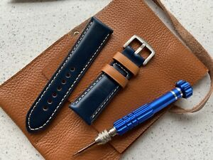 24mm horween shell cordovan leather Blue watch 🇬🇧 strap handmade Inc Leather P