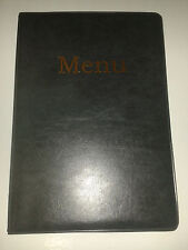 A5 MENU COVER IN DARK GREY LEATHER LOOK PVC-WITH POCKETS ON PAGE 2 + 3 only!